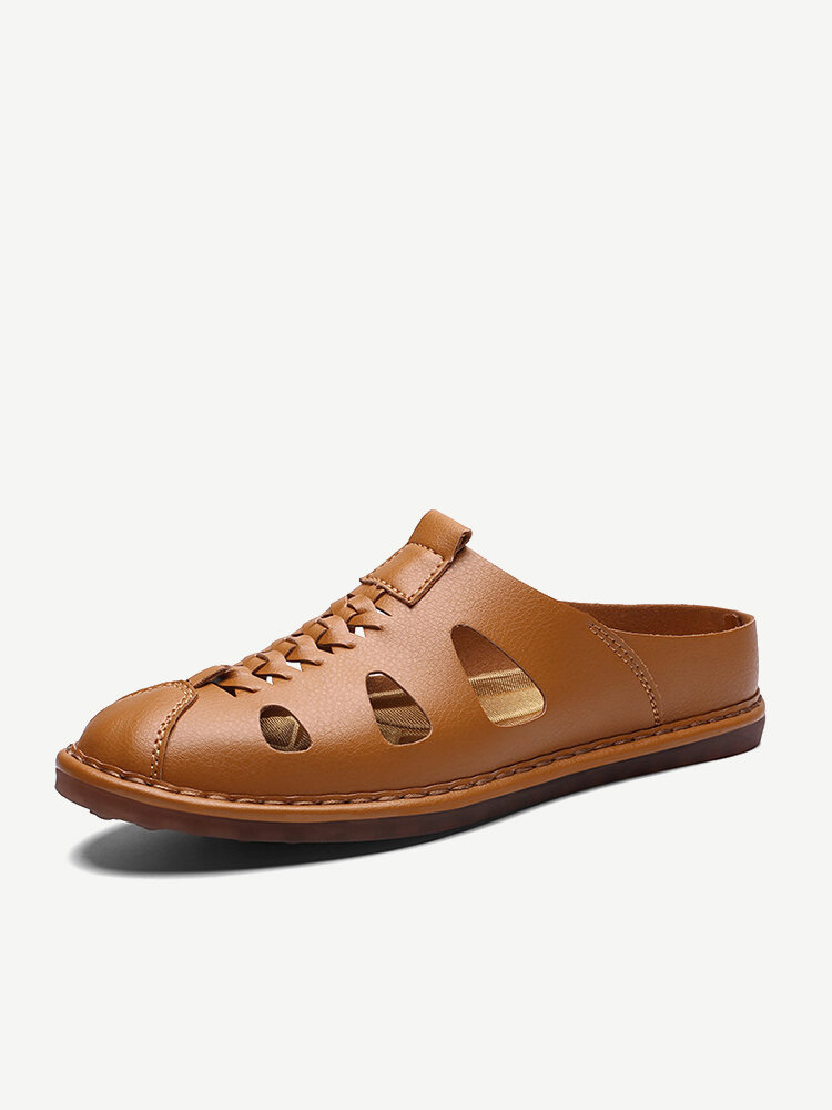 Large Size Men Stitching Soft Sole Leather Backless Loafer Casual Sandals