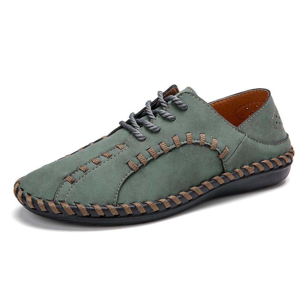 Menico الرجال خياطة يدوية جلد ستوكات Soft الوحيد حذاء كاجوال