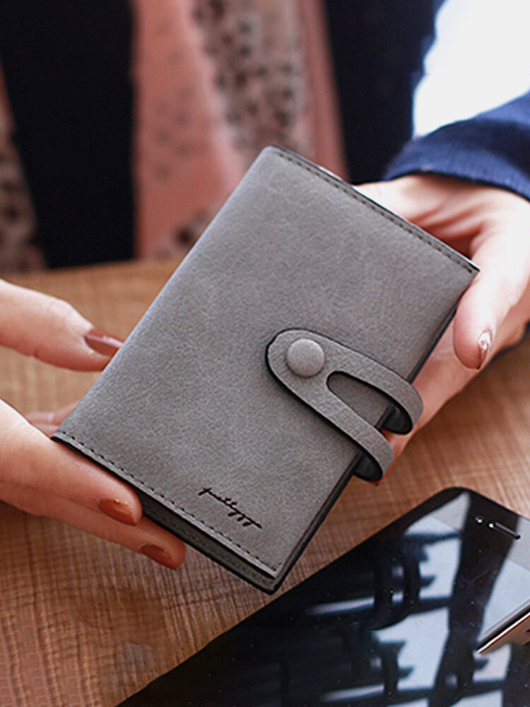 Women PU Solid Short Wallet 20 Card Slot Card Holder Concise Purse