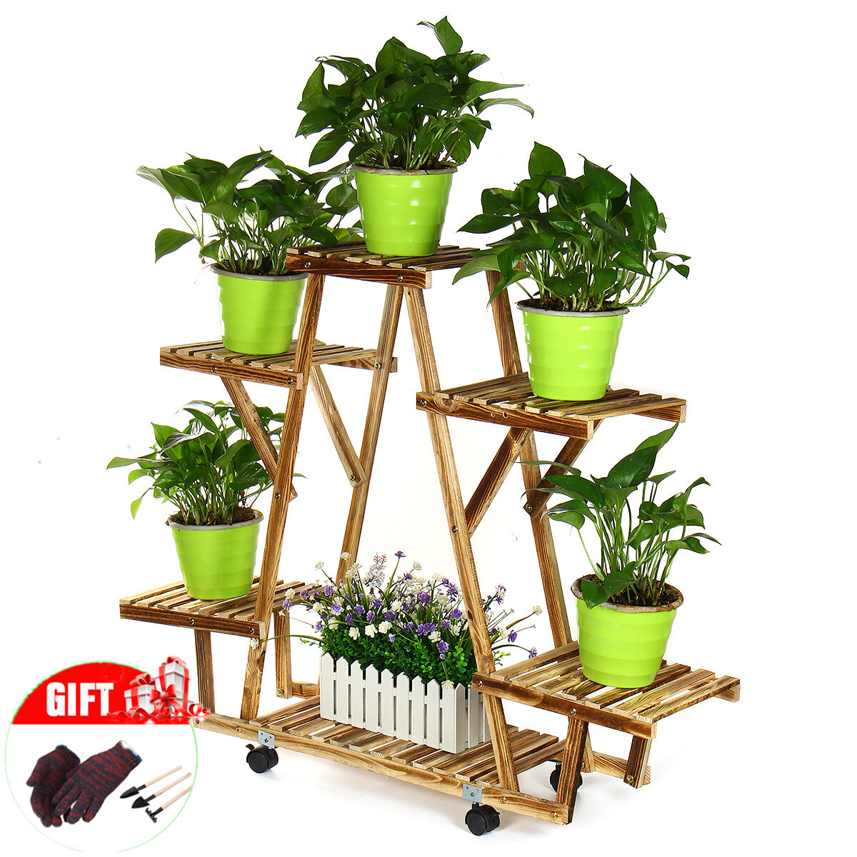 <US Instock> Wood Plant Stands High Rolling Plant Display Stand for Multiple Plants Garden Balcony, Natural Wood