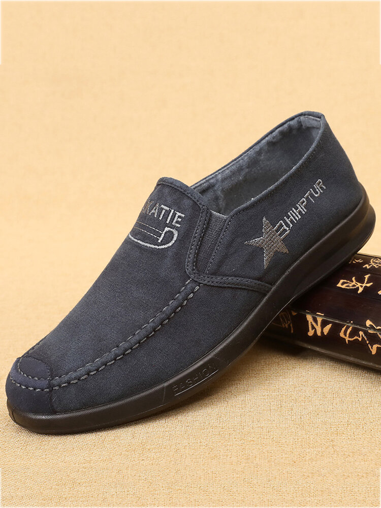 Men Soft Sole Star Pattern Wearable Hard Wearing Mature Canvas Shoes