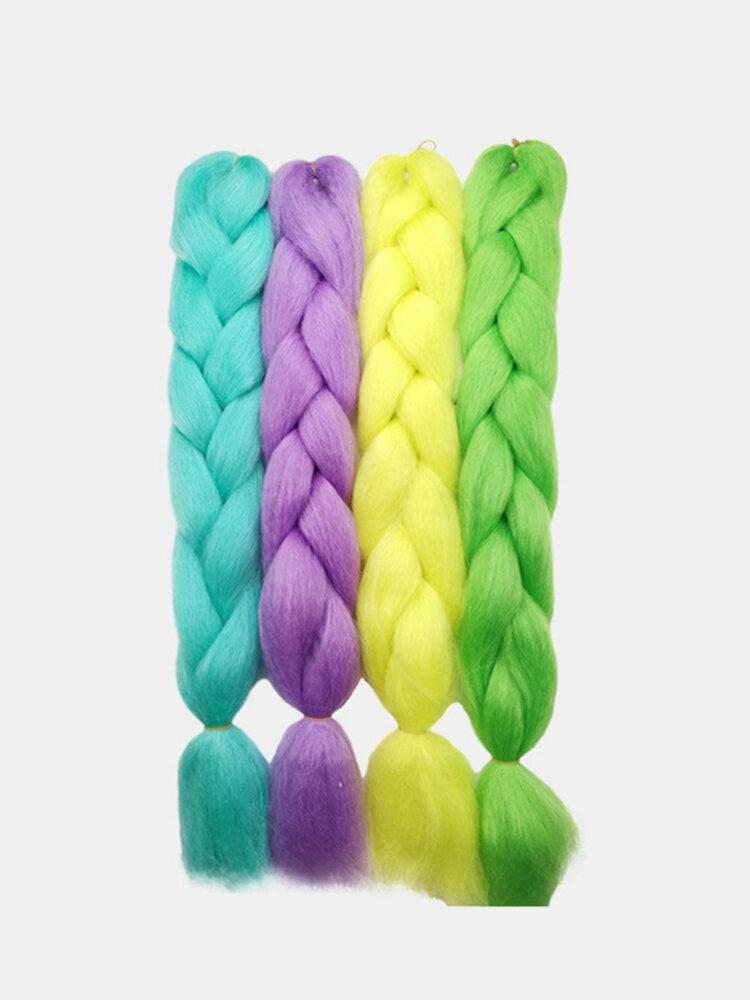 Цветные грязные косы на Хэллоуин, светящиеся высокотемпературные волокна, полная ручная плетение, большая коса Женское Волосы Расширения