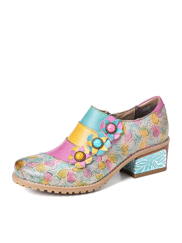 SOCOFY Retro Bloom Polychromatic Embossed Flower Splicing Floral Genuine Leather Pumps