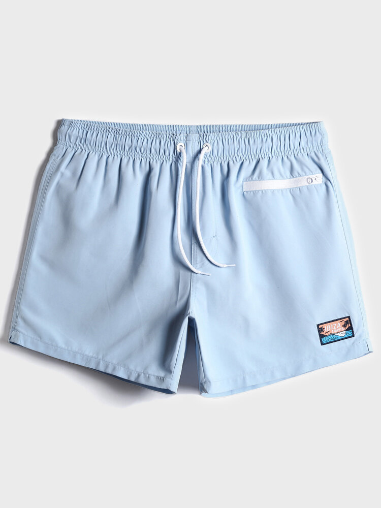 Mens Solid Color Applique Quick Dry Drawstring Swim Trunks With Zip Front Pocket