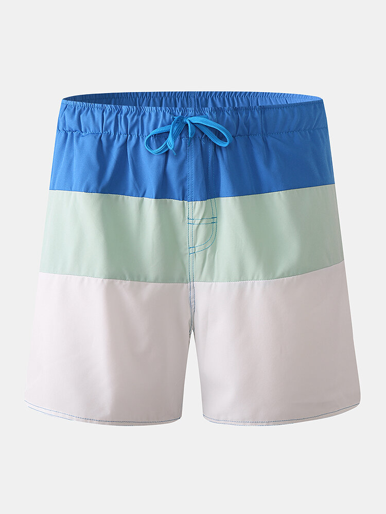 Mens Color Block White Beach Board Shorts Drawstring Quick Dry Mesh Liner With Pocket