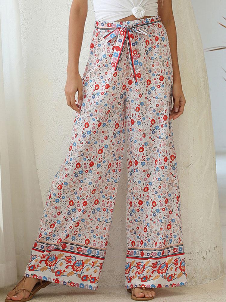 Estampado floral étnico Pernera ancha Anudado Suelto Pantalones Para Mujer