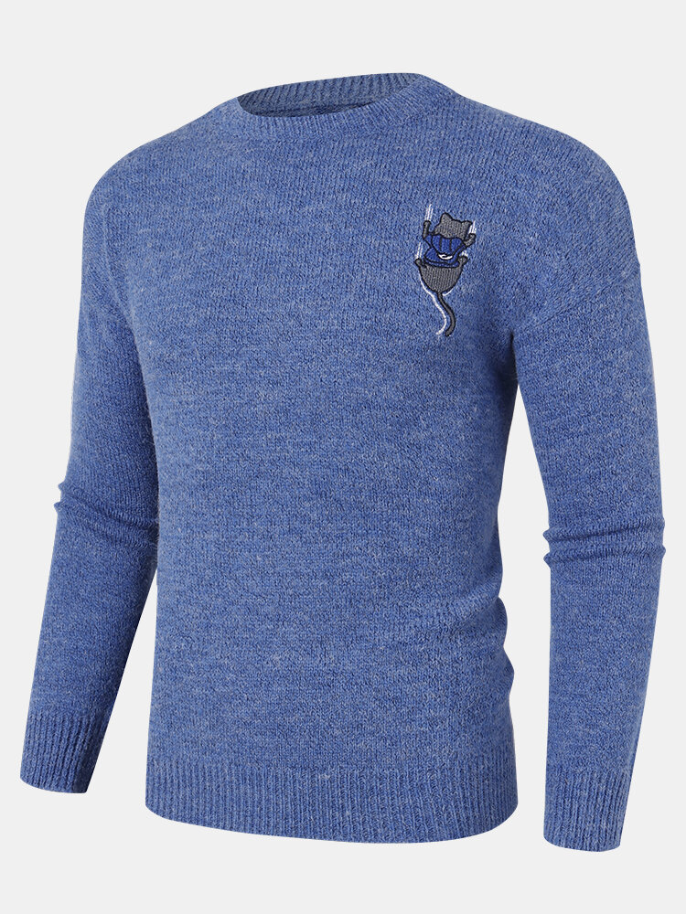 Mens Back Cartoon Cat Letter Embroidery Crew Neck Knit Pullover Sweaters
