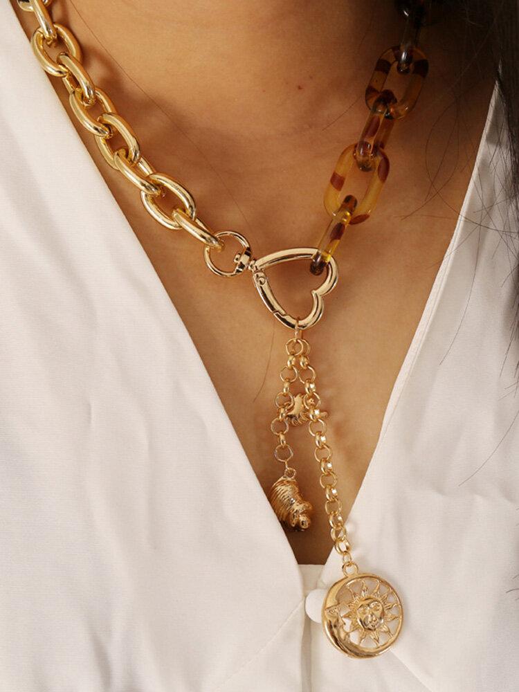 Personality Leopard Heart-Shape Women Necklace Hollow Moon Sun Pendant Necklace