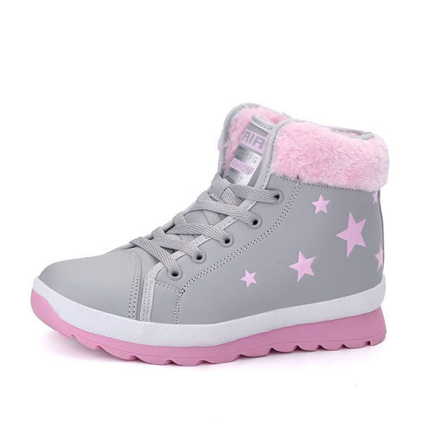 Star Printing Lace Up High Top Casual Shoes