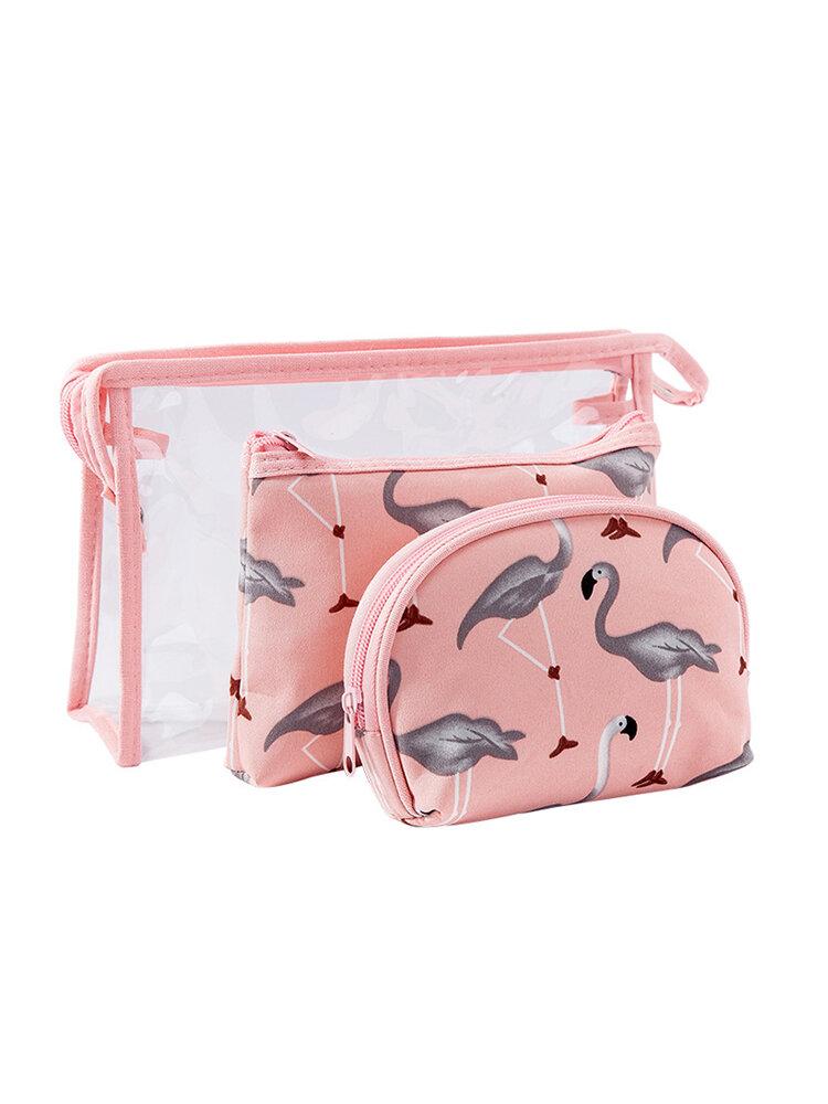 Colored Flamingo Cosmetic Bag Set Three-piece Waterproof Transparent PVC Wash Bag