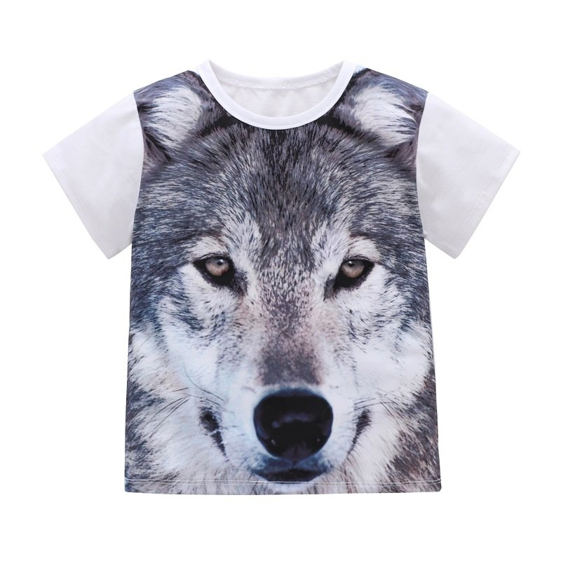 3D Wolf Printed Toddler Boys Kids Casual Cotton T-shirt Tops For 2Y-9Y