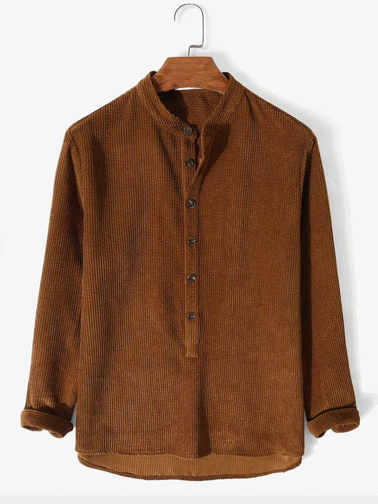 Mens Solid Color Corduroy Long Sleeve Texture Henley Shirt