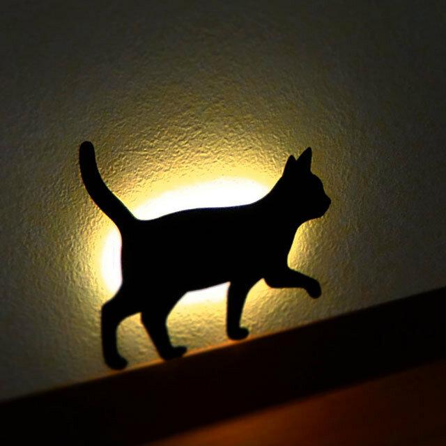 Cute Cat Acrylic Wall Light Sound Control Lamp LED Night Light Living Room