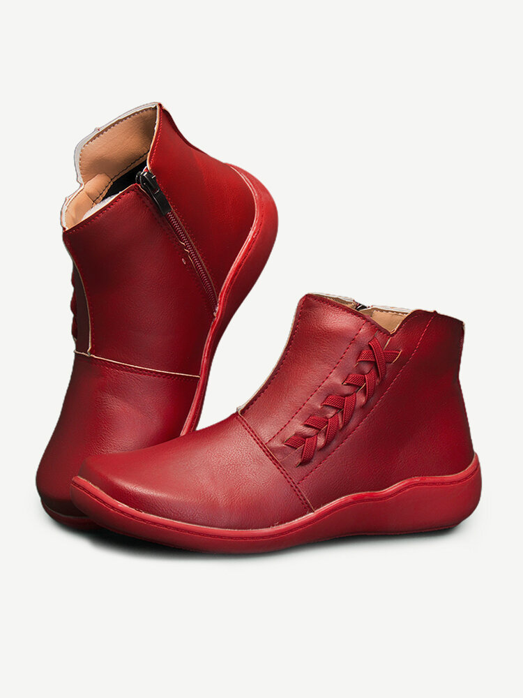Women Stitching Zipper Round Toe Casual Ankle Boots