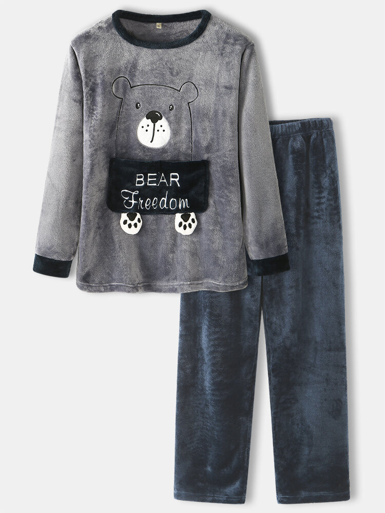 Mens Flannel Cartoon Bear Letter Pattern Round Neck Thick Home Pajamas Sets
