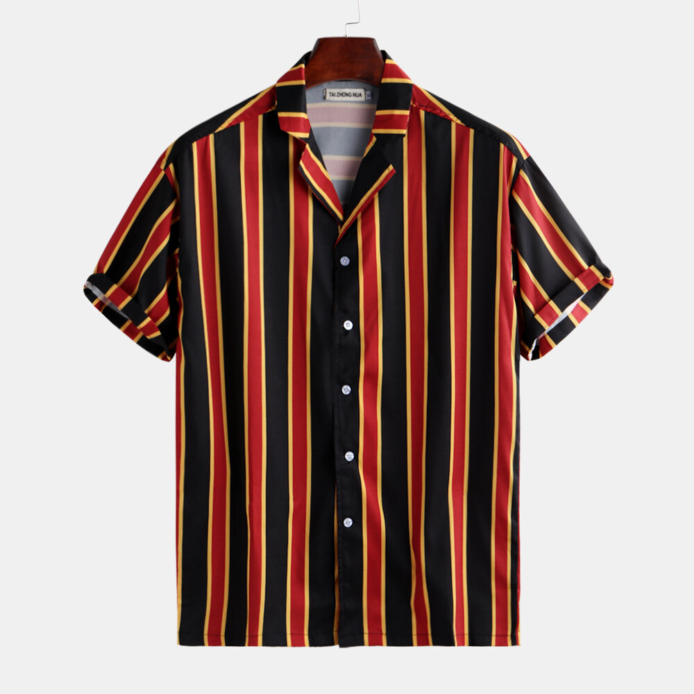 ec02377e7bc Mens Casual Vertical Stripe Printed Loose Fit Short Sleeve Shirt