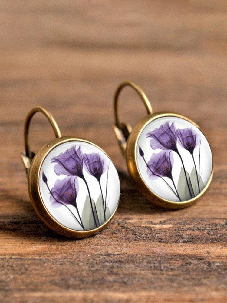 Vintage Flower Pattern Women Earrings Glass Printed Pendant Earrings Ear Hooks