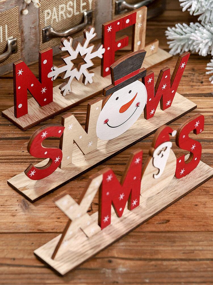 1Pc Christmas Festival Decorations Wooden Letter Decoration Desktop Creative Printing Decoration