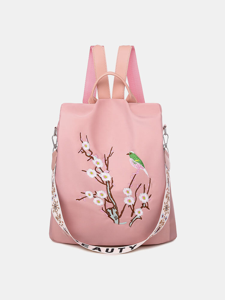 Women Multi-carry Embroidered Anti-theft Waterproof Travel Backpack Crossbody Bag