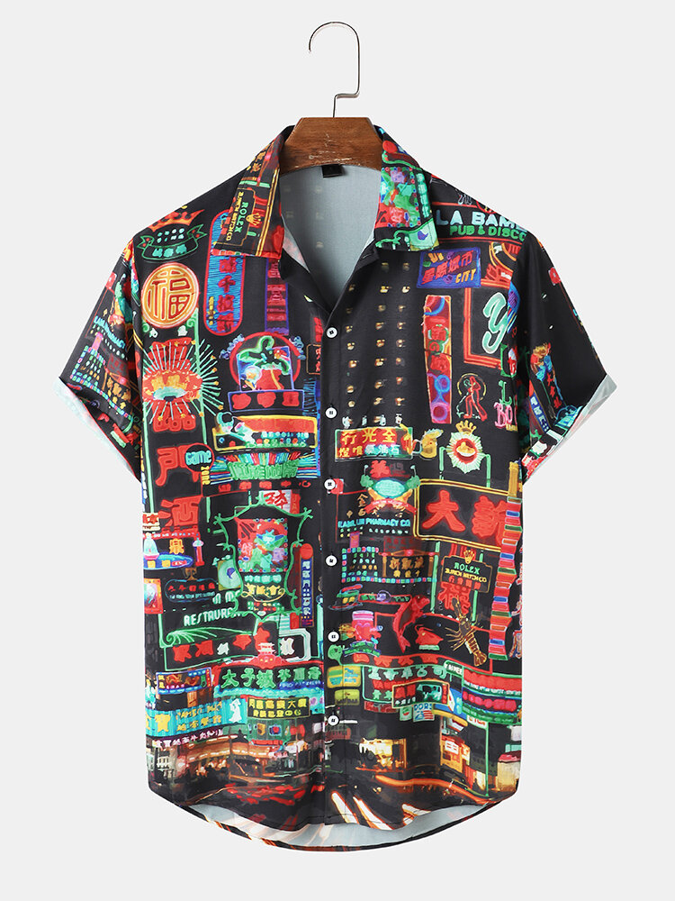 Mens Chinese Street View Print Button Up Short Sleeve Shirts