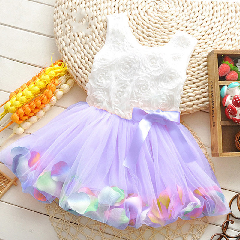 Fairy Petal Toddlers Girls Sleeveless Party Flower Princess Dresses For 1Y-5Y