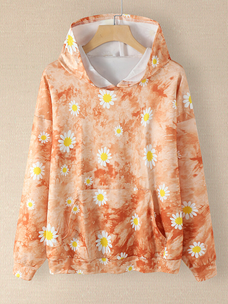 Daisy Floral Print Pocket Plus Size Long Sleeve Hoodie