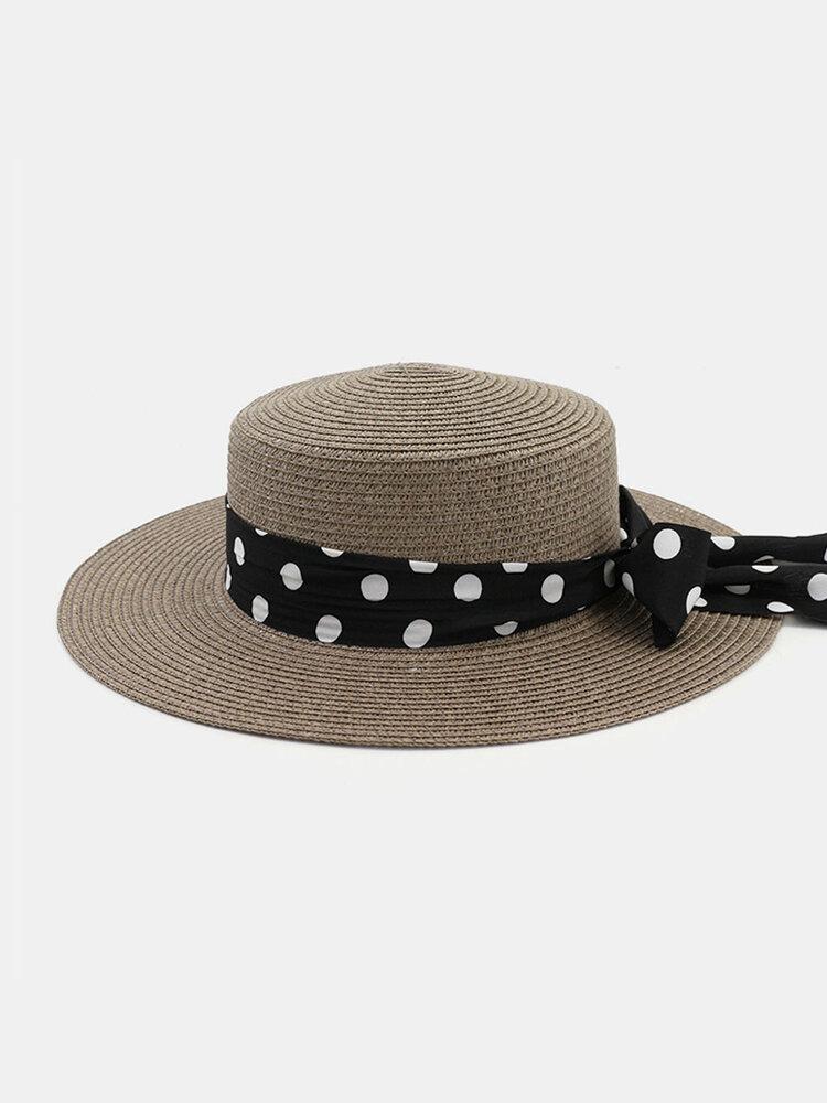 Women Flat Hat Outdoor Travel Jazz Straw Hat Sun Protection Sun Hat Beach Hat