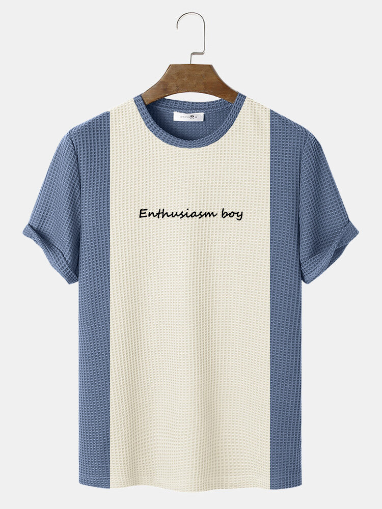 Mens Knitted Stitching Letter Embroidery Crew Neck Short Sleeve Crew Neck T-Shirt