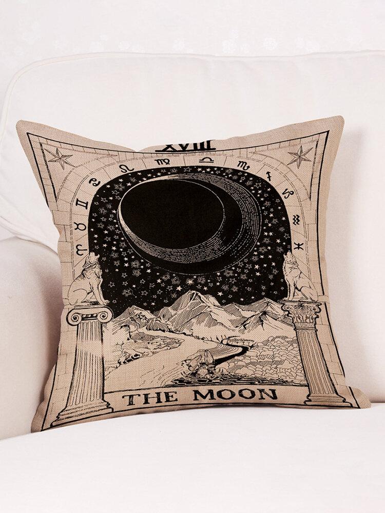Mysterious Tarot Sun Moon Star Pattern Linen Cushion Cover Home Sofa Office Seat Back Pillowcases