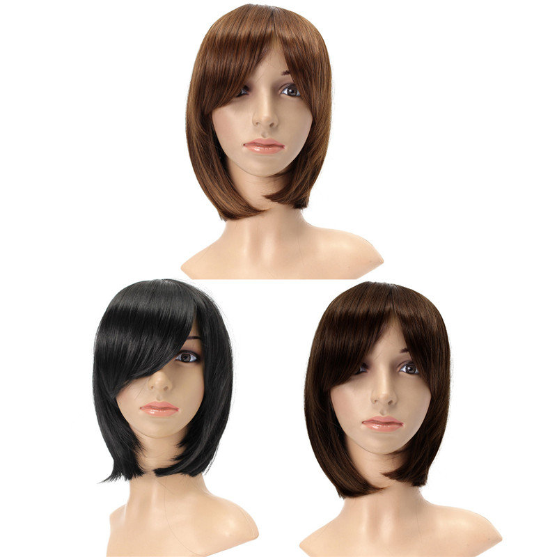Women Short Brown Straight Bob Hair Full Wig Cosplay Party Wigs 3 Colors