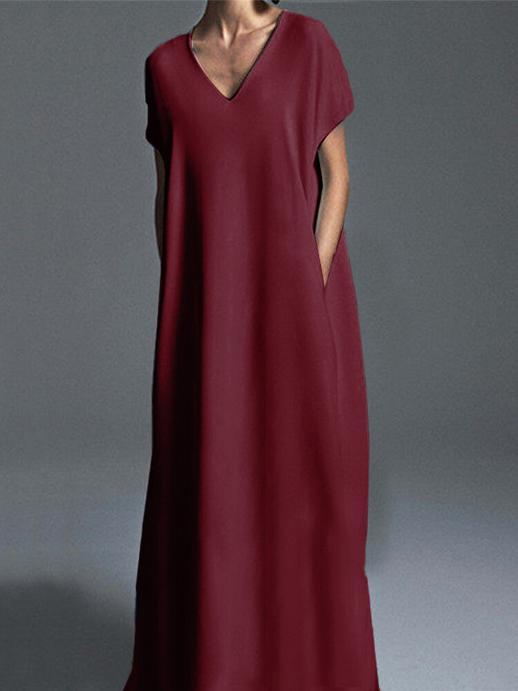Casual Solid Color Plus Size Maxi Dress for Women