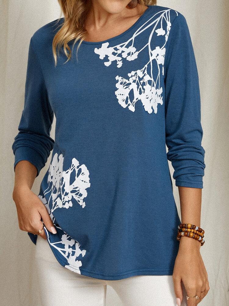Flower Print Casual Long Sleeve Plus Size Elegant T-Shirt For Women