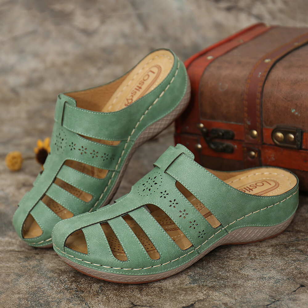 LOSTISY Hollow Out Closed Toe Casual Wedges Backless Sandals