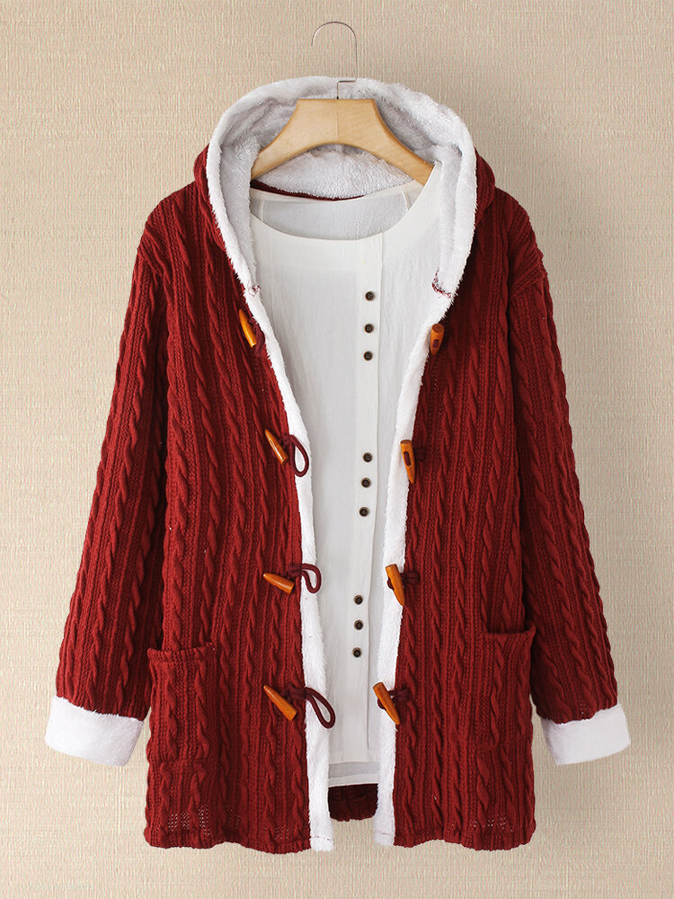 Solid Color Long Sleeve Jacquard Hooded Coat For Women