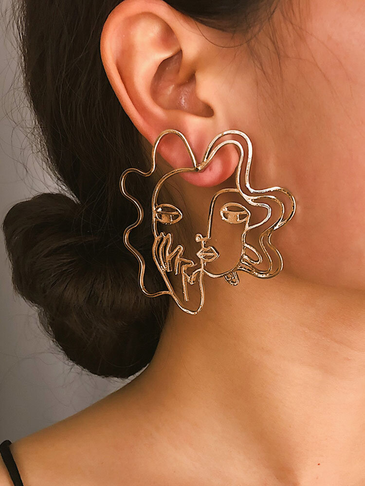 Vintage Alloy Exaggerated Face Pierced Three-dimensional Mask Earrings