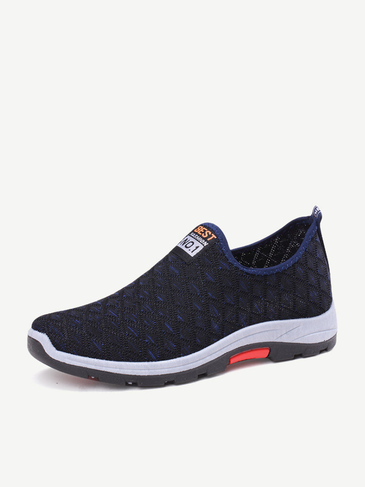 Men Knitted Fabric Non Slip Breathable Slip On Sport Casual Sneakers