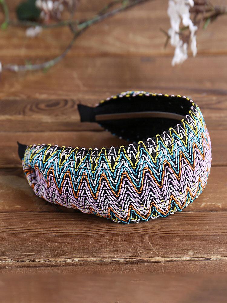 Bohemian Style Wide Hair Hoop Headband Ethnic Style Colorful Striped Fabric Hair Hoop Travel Home Leisure Hair Band