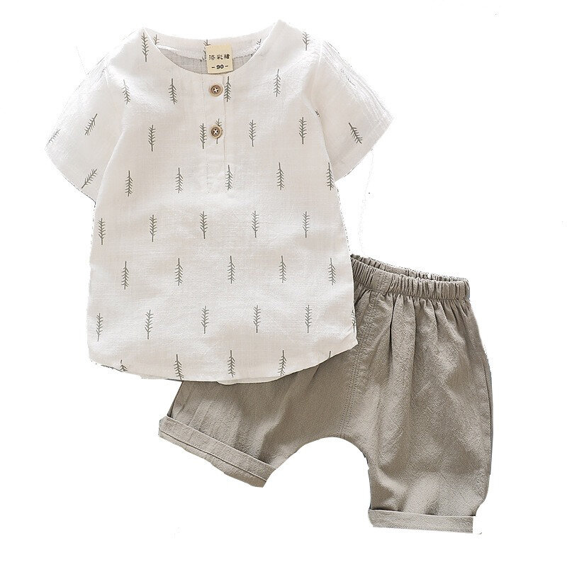 Toddler Boys Cotton Linen Shirts+ Shorts Leisure Clothing Sets For 2-7Y
