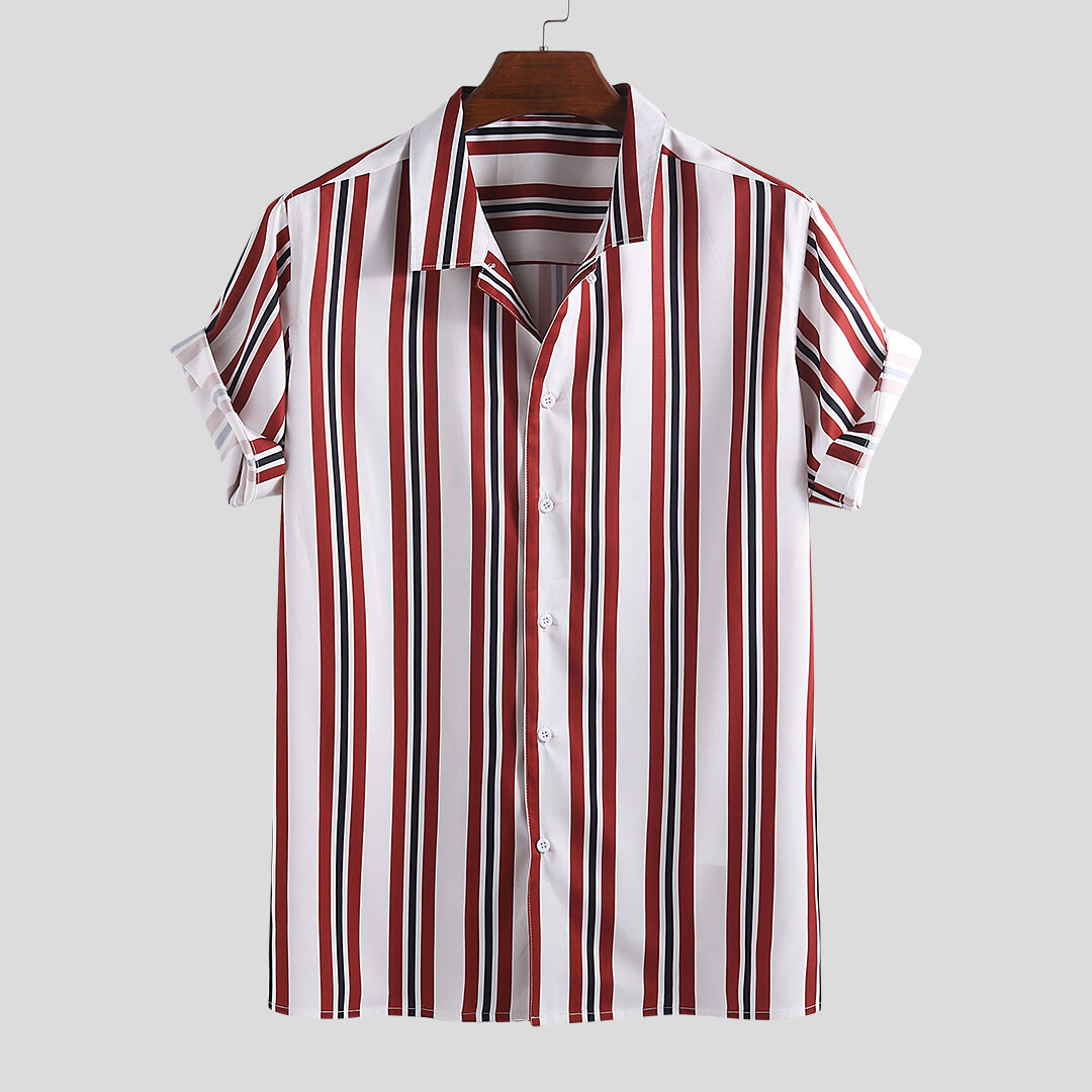 5a6ba4bf90d Mens Funny Multi Color Striped Turn Down Collar Short Sleeve Loose Comfy  Shirts