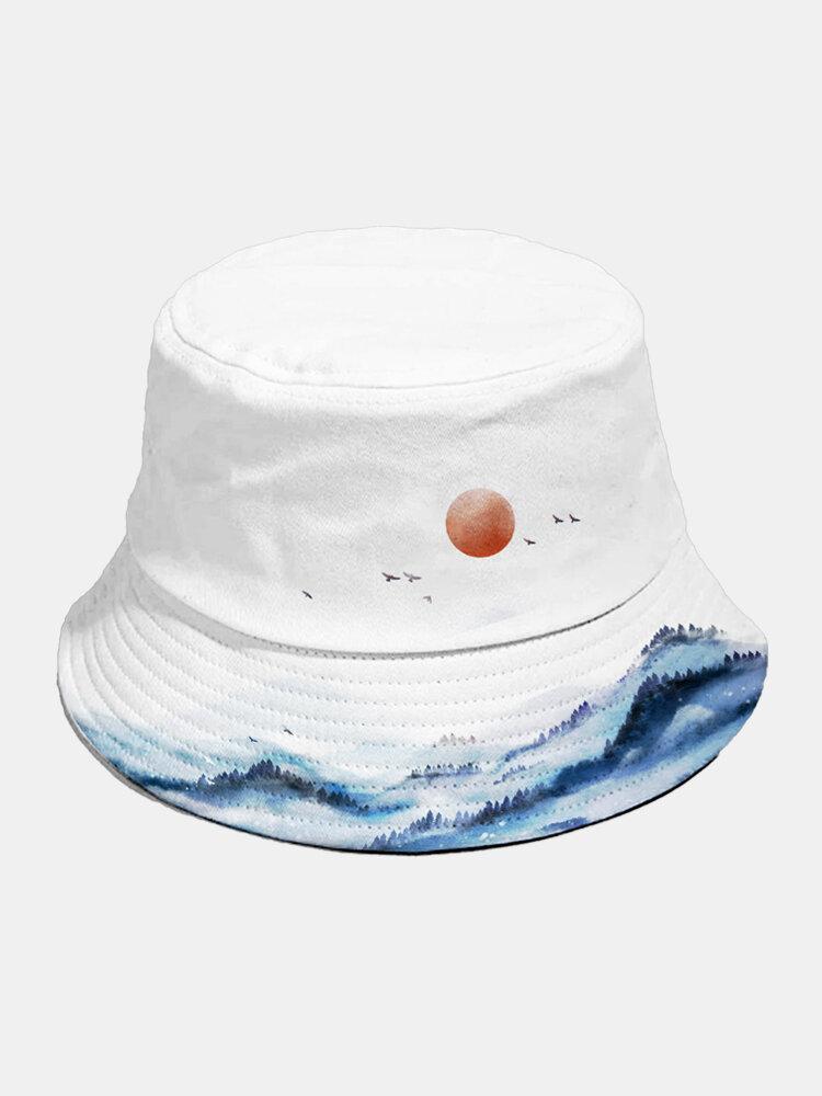 Unisex Cotton Fashion Autumn Landscape Chinese Ink Painting Outdoor Sunshade Bucket Hat
