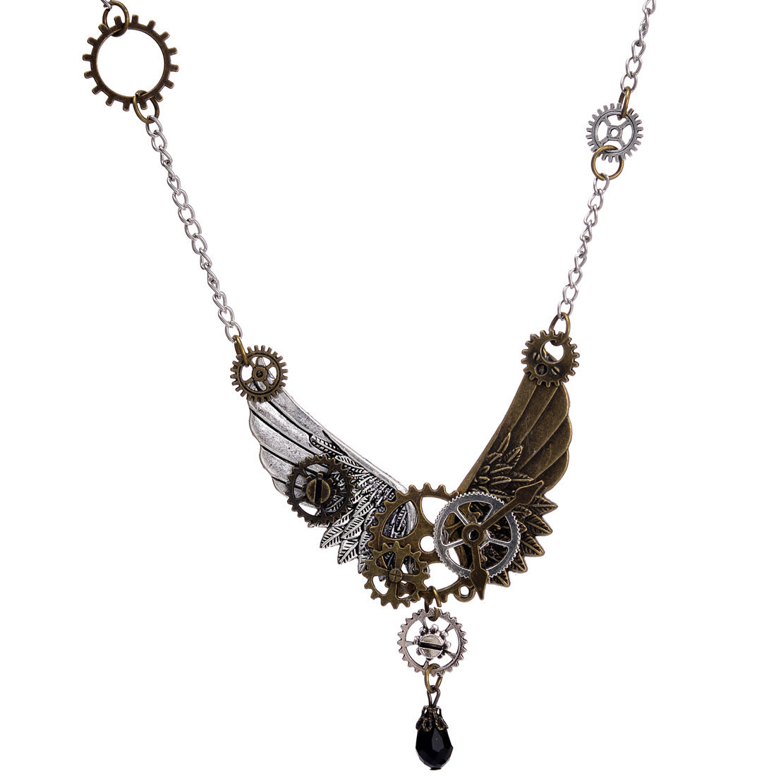 Vintage Unisex Jewelry Steampunk Wings and Gear Necklace Crystal Drop Charm Necklace