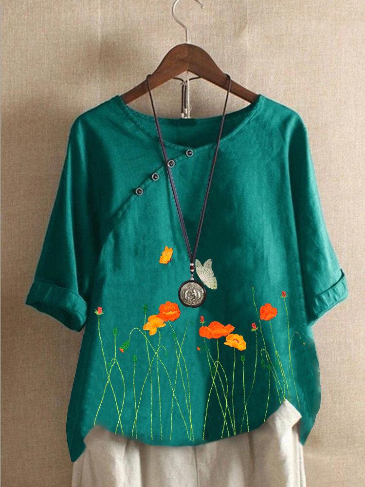 Blumenstickerei Button Halbarm Bluse Für Damen