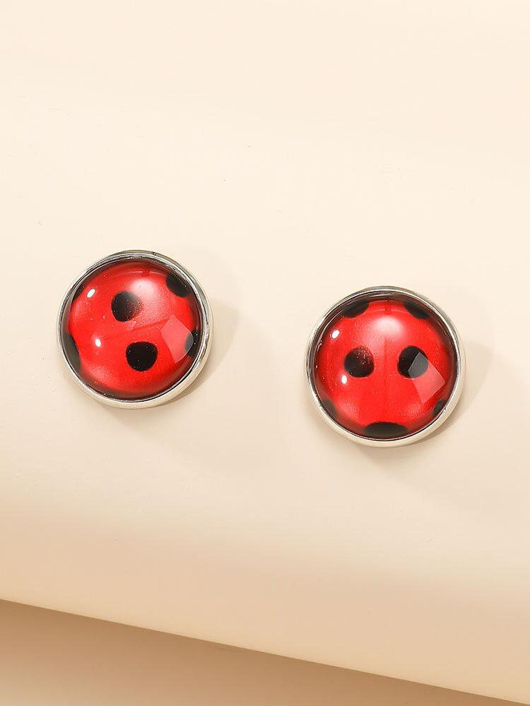 Sweet Alloy Red Sieben-Punkt-Marienkäfer Geometrisch geformte Ohrringe
