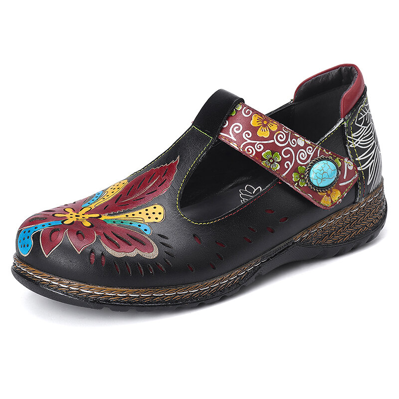 SOCOFY Vintage Leather Floral Cutout Beaded T-strap Adjustable Strap Flat Shoes