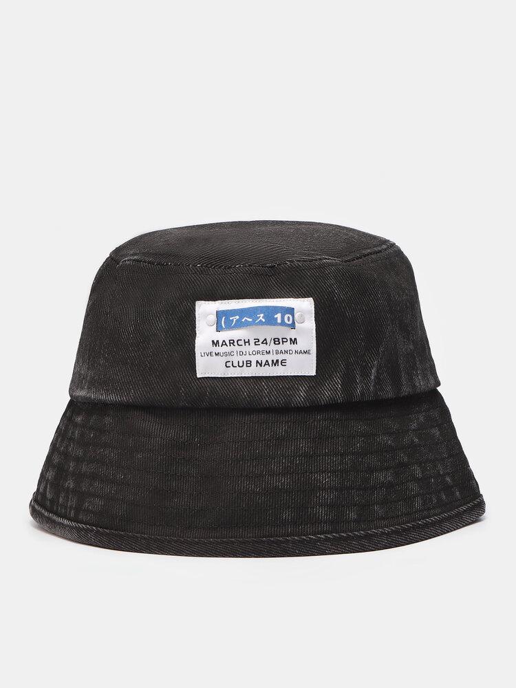 Unisex Denim Letters Korean Labeling Sun Protection Bucket Hat