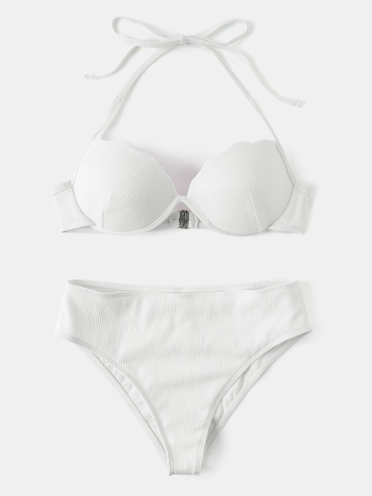Women Solid Ribbed Underwire Push Up Halter String Back Closure Bikinis Swimwear