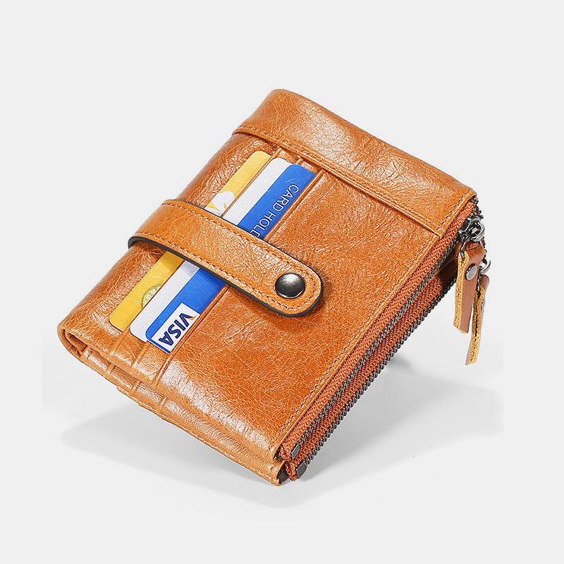 Men Cowhide RFID Antimagnetic Bifold Double Zipper Wallets