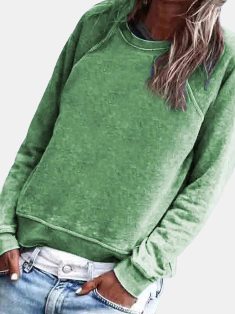 Einfarbiges Langarm-T-Shirt mit O-Ausschnitt für Damen