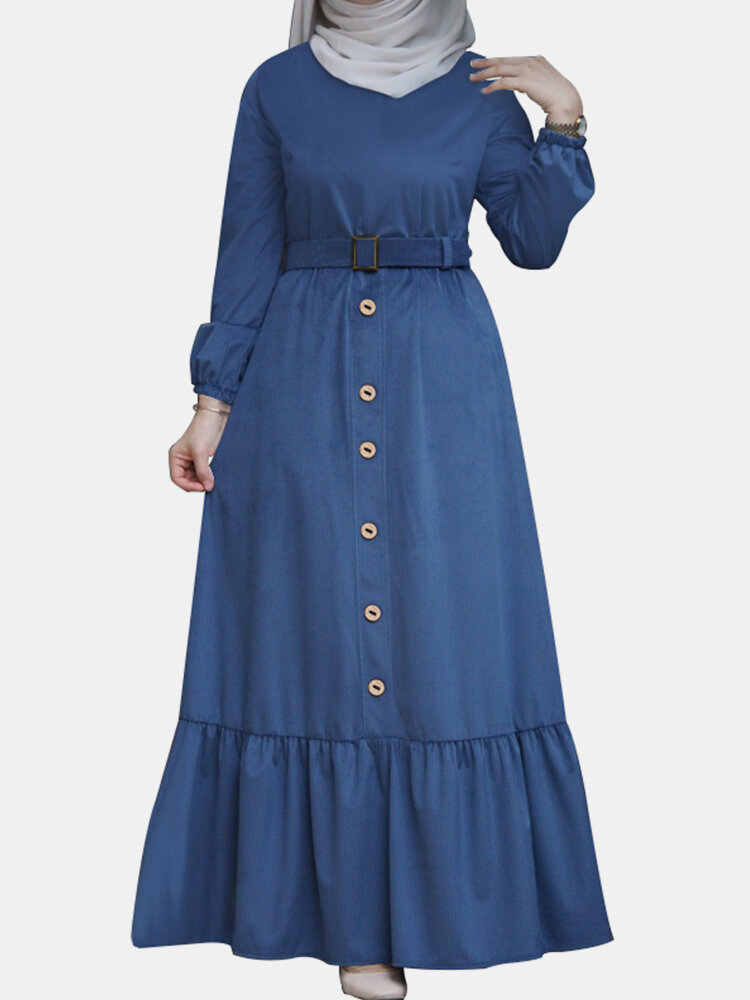 Solid Color Button Pleated Waistband Long Sleeve Casual Muslim Dress