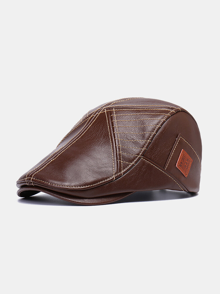Men Vintage Artificial Leather Hat Keep Warm Ear Protected Casual Beret Hat Flat Caps
